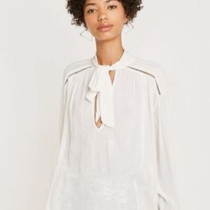 New Free People Womens Embroidery White Top M